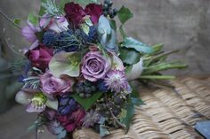 Bouquet of Memory Lane Roses, Blueberry Roses, Hellebores, Astrantia, Hyacinths and Euringium created by Hannah Berry Flowers www.hannahberryflowers.co.uk