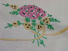 corner of table cloth stitched by Josephine