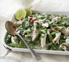 Thai shredded chicken & runner bean salad.  Replace lemongrass with lemon zest/juice.  Try w/o sugar.