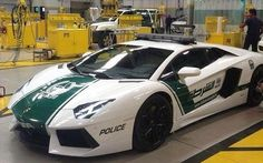 DUBAI'S LAMBORGHINI POLICE CAR» Earlier today the Dubai Police posted a photo of their newest police car, a Lamborghini Aventador. A number of other photos and videos of the 217 MPH police car have since cropped up on the Internet. Official details are sparse, but the car appears to be part of an ongoing upgrade of the Dubai Police patrol car fleet.