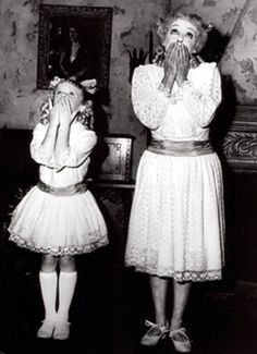 """Bette Davis and Julie Allred, playing Baby Jane old and young, in """"Whatever Happened to Baby Jane?"""", 1962"""