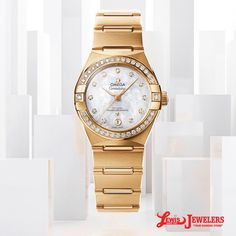 1668263a35f8 18k yellow gold ladies constellation diamond bezel diamond mother of pearl  dial Omega Constellation