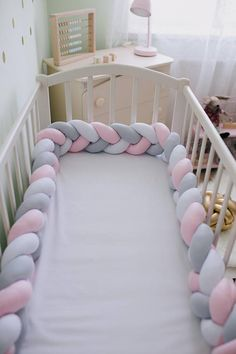 37a96aa973b Braided Crib Bumper pink Knot Cushion Knot Pillow crib Bolster Pillow Crib  Bedding Baby Shower Gift nursery decor cot bumper