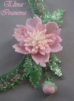 necklace peony Beaded flower handmade necklace fashion 2015