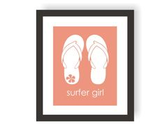 Surfer Girl Art Print Flip Flop Decor Kids Surf by twowhiteowls, $15.00 Painted Couch, Surf Nursery, Surfer Baby, Decorating Flip Flops, Surf Decor, Surf Art, Nursery Modern, Art Girl, Kids Bedroom