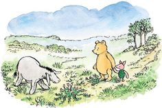 """Hallo, little Piglet,"" said Eeyore. ""Hallo, Pooh. And what are you doing around here?"""