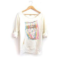 CMYK Owls Hand STENCILED Deep Scoop Neck Heather Sweatshirt in Heather Cream - S M L XL on Etsy, $72.00