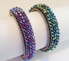 Crystalized Bracelet Tutorial by RominaDesigns on Etsy Seed Bead Bracelets, Seed Bead Jewelry, Jewelry Making Beads, Bead Earrings, Beaded Jewelry, Jewellery, Handmade Bracelets, Handmade Jewelry, Seed Bead Patterns
