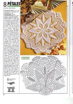 Kira scheme crochet: Scheme crochet no. Free Crochet Doily Patterns, Crochet Mat, Crochet Doily Diagram, Crochet Dollies, Crochet Lace Edging, Crochet Blocks, Crochet Round, Love Crochet, Vintage Crochet