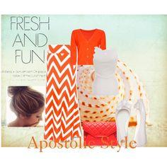 """Fresh & Fun Orange Chevron Apostolic Style"" by emmyholloway on Polyvore"