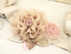 Bridal Sash - Rustic Sash in Nude and Blush Pink with Linen, Lace, Pearls and Burlap Shabby Chic All Natural. $200.00, via Etsy.
