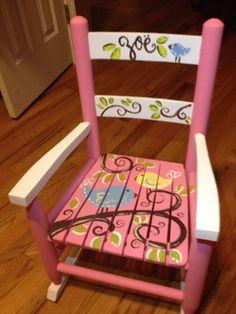 Girls Rocking Chair - Child's Rocker - Pink White Birds - Child Rocking Chair