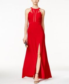 Snakepit Ball! | Nightway Sleeveless Front-Slit Halter Gown