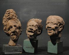Old woman, screaming hag, and caricature of a woman. Three terracotta heads (100-120 CE) from Smyrna (Izmir),  Hellenistic figurine 1st-3rd CE  Louvre Museum