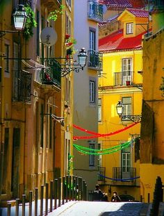 Lisbon old district ready for the June Portugal Spain And Portugal, Portugal Travel, Portugal Trip, Algarve, Places Around The World, Around The Worlds, Portuguese Culture, Places To See, Travel Inspiration