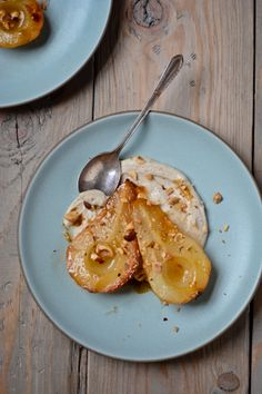 Roasted pears with cashew cardamom cream.  30 days, 30 recipes - Scaling Back