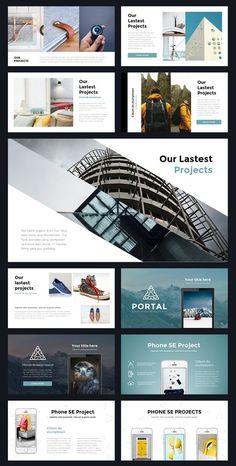 Portal Modern Powerpoint Template by Thrivisualy on Creative Market - bitcoinblockchain Web Design, Slide Design, Page Design, Layout Design, Graphic Design, Design Ideas, Powerpoint Design Templates, Creative Powerpoint, Ppt Template