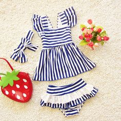d520bba392ee7 Cheap suit design, Buy Quality suit suit directly from China suit girl  Suppliers: Swimswear Girls Swimsuit Three Pieces Butterfly Bow-knot Design  Striped ...