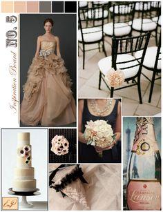black, cream, blush and nude classy wedding inspiration board ideas