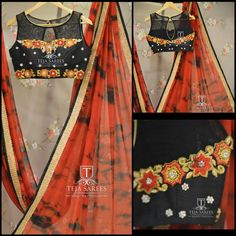 TS-SR- 336Available..Pure Chiffon bomb  Die Saree paired with a black zardosi work boat neck blouse..For orders/querieswhatu2019s app us on8341382382 orCall us @8790382382Mail us tejasarees@yahoo.com LikeNeverBefore  Tejasarees  Newdesigns  icreate  sarees  tejupavuluri  hyd  tiendie  zardosi  chiffonsStay Amazed!! Team Teja!!  29 November 2016