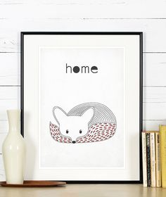 Retro poster, fox, vixen, forest animals, scandinavian style, simple line, for…