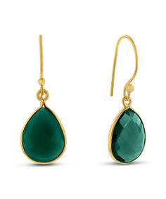 Green Onyx & Gold Teardrop Earrings