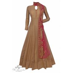 Appealing golden suit complemented with thread embroidered dupatta