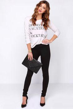 Dittos Laura Black Leggings at Lulus.com
