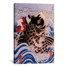 iCanvas Japanese Samurai Wrestling Giant Koi Carp Woodblock Graphic Art on Canvas