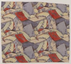 Furnishing fabric 'Amenophis' of stencil-printed linen, designed by Roger Fry, Omega Workshops, England, made in Maromme, France, 1913