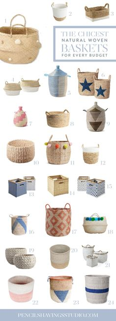 You can't beat the style & storage that you get with woven storage baskets. I'm a huge fan for the natural texture and visual interest they bring to a room, not to mention the practical aspects (I'm looking at you, endless amount of toys). In our house, everything from socks & shoes to toys get corralled in these baskets. www.pencilshavingsstudio.com