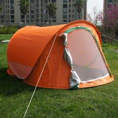 Orange Color Large Pop Up Backpacking Camping Hiking Tent Automatic Instant Setup Easy Fold back