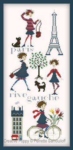 Voici la broderie Paris Rive gauche, créé par Perrette Samouiloff, une grille de point de croix dédiée à Paris et au plaisir d'y vivre.