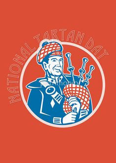 National Tartan Day Bagpiper Retro Greeting Card by patrimonio