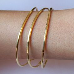Gold Bangles - Thick Open End Bangle Stacking Bracelets - Set of 3 Stackable Bangles - Hammered Smooth Notched - Brass Copper Silver Bronze Plain Gold Bangles, The Bangles, Gold Bangles Design, Gold Earrings Designs, Gold Rings Jewelry, Sterling Silver Jewelry, Crystal Jewelry, Jewelry Art, Silver Rings