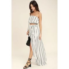 Vacay Bae Black and White Striped Wrap Maxi Skirt ($49) ❤ liked on Polyvore featuring skirts, black, floor length maxi skirt, black and white striped long skirt, maxi skirt, black white maxi skirt and long striped maxi skirts
