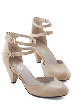 Marvel Heel in Sand. Were all about the double ankle straps and tapered heels of these neutral leather shoes by Seychelles. #tan #prom #wedding #bride #modcloth