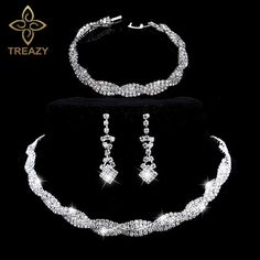 Buy now TREAZY Stunning Silver Plated Rhinestone Crystal Wedding Jewelry Choker Necklace Earrings Bracelet Set Women Bridal Jewelry Set just only $7.19 with free shipping worldwide  #weddingengagementjewelry Plese click on picture to see our special price for you
