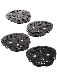 Black Sugar Skull Coasters Set | $18.00