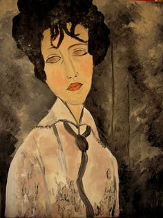 Woman With A Black Cravat by Amedeo Modigliani Amedeo Modigliani, Modigliani Paintings, Italian Painters, Italian Artist, Louise Bourgeois, Art For Art Sake, Wedding Art, African Art, Art And Architecture