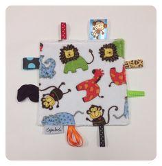 Crinkle sensory toy, safari toy, teether, baby crinkle paper, crinkle tag toy, boys, blue elephants, lions, monkeys by SeeJaneCJaneSew on Etsy