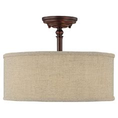 Semi-flush+mount+in+burnished+bronze+with+a+fabric+drum+shade.    ++  Product:+Semi-flush+mount++  Construction+Material:+...