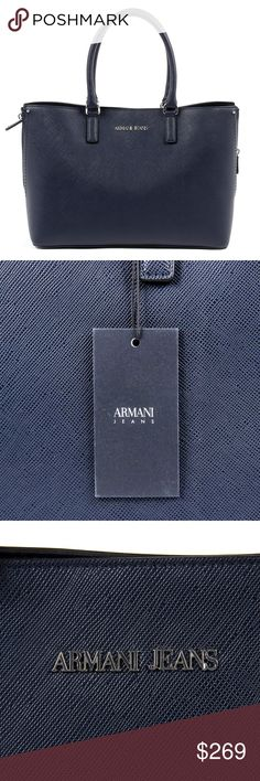 Armani Jeans Womens Handbag Dark Blue Made of: 100% POLYESTER Details: 922166 7P756 31835 -  Color: Dark Blue -  Composition: 100% POLYESTER -  Measures (Width-Height-Depth): 27x38x14 cm - Made: CHINA -  Front Logo - Two Handles - Botton Closure - Logo Inside - Two Inside Pocket - One Inside Zip Pocket Armani Jeans Bags Shoulder Bags
