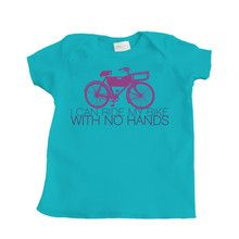Retro Design I Can Ride My Bike With No Hands on Turquoise Infant T Shirt