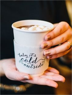 Baby It's Cold Outside hot chocolate sleeve // Winter Wedding // Cute winter wedding favor!