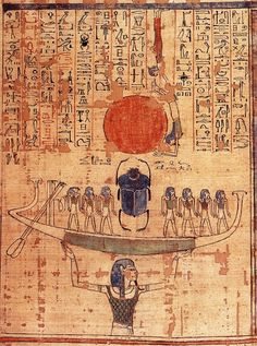 The god Nun raises the solar barque from the waters at the time of creation. From the Book of the Dead of Anhai.