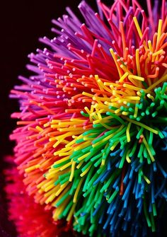 Rainbow Koosh Ball. I need to find the biggest one I can! They make great fidgets! http://www.pinterest.com/evaninspired/fidgets/