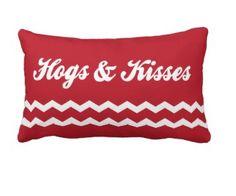 "HOGS & KISSES! 21"" x 13"" throw pillow, $55 http://www.zazzle.com/hogs_kisses_21x13_lumbar_pillow-189554556177584735 #Arkansas #Razorbacks #WPS"