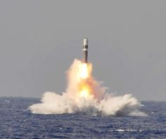 A trident II D-5 ballistic missile is launched from the Ohio-class ballistic missile submarine USS West Virginia (SSBN 736)