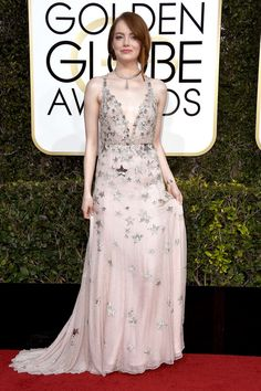 The Best of the Golden Globes 2017 Red Carpet Arrivals - Emma Stone in Valentino Valentino Red, Red Carpet Looks